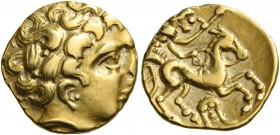 CELTIC, Northwest Gaul. Uncertain tribe. Circa 3rd-2nd century BC. Quarter Stater (Gold, 12.5 mm, 1.92 g, 10 h), imitating staters of Philip II. Celti...