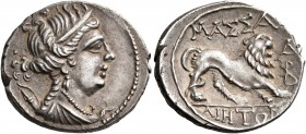 GAUL. Massalia. Circa 200-150 BC. Drachm (Silver, 17 mm, 2.63 g, 7 h). Bust of Artemis to right, wearing earring, pearl necklace, and with her bow and...