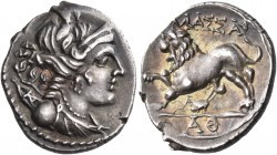 GAUL. Massalia. Circa 130-121 BC. Drachm (Silver, 16 mm, 2.69 g, 4 h). Diademed and draped bust of Artemis to right, wearing pendant earring and pearl...