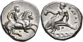 CALABRIA. Tarentum. Circa 344-340 BC. Nomos (Silver, 21 mm, 7.99 g, 9 h). Helmeted ephebe, nude, holding a small round shield and a lance with his lef...