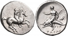 CALABRIA. Tarentum. Circa 315 BC. Nomos (Silver, 22 mm, 7.93 g), circa 315 BC. Nude rider on horse rearing to right, holding the reins with his left h...