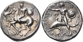 CALABRIA. Tarentum. 302-280 BC. Nomos (Silver, 22 mm, 7.56 g, 5 h). On the left, Nike standing facing, turned slightly to the right to grasp the reins...