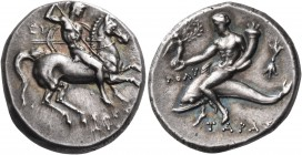 CALABRIA. Tarentum. 302-280 BC. Nomos (Silver, 20 mm, 6.64 g, 10 h), Eu..., Sostratos and Poly.... Warrior, nude but for his crested helmet, riding ho...