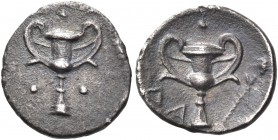 CALABRIA. Tarentum. Circa 280-228 BC. Obol (Silver, 11 mm, 0.29 g, 3 h). Kantharos, with a pellet above, to left and to right. Rev. Kantharos with a p...