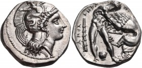 LUCANIA. Herakleia. Circa 390-340 BC. Nomos (Silver, 20 mm, 7.97 g), circa 350-340. Head of Athena to right, wearing crested helmet ornamented, on the...