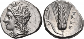 LUCANIA. Metapontum. Circa 330-290 BC. Didrachm or nomos (Silver, 22 mm, 7.81 g, 5 h), Atha.... Head of Demeter to left, wearing grain wreath, triple ...