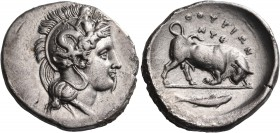 LUCANIA. Thourioi. Circa 400-350 BC. Stater (Silver, 23 mm, 7.68 g, 1 h), circa 350 BC. Head of Athena to right, wearing crested Attic helmet adorned ...