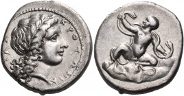 BRUTTIUM. Kroton. Circa 400-325 BC. Stater (Silver, 21 mm, 7.55 g, 12 h), circa 340s BC. ΚΡΟΤΟΝΙΑ - ΤΑΣ Laureate head of Apollo to right, with his lon...