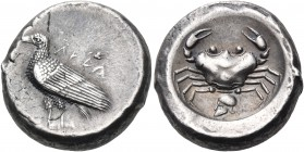 SICILY. Akragas. Circa 495-480/78 BC. Didrachm (Silver, 15 mm, 8.88 g, 12 h). ΑΚΡΑ Eagle standing left with folded wings. Rev. Crab; below, crestless ...