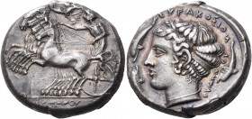 SICILY. Syracuse. Dionysios I, 405-367 BC. Tetradrachm (Silver, 24 mm, 17.25 g, 12 h), signed by Eumenes on both the obverse and the reverse, c. 400 B...