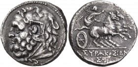 SICILY. Syracuse. Fifth Democracy, 214-212 BC. Litra (Silver, 19 mm, 4.85 g, 7 h). Bearded head of Herakles to left, wearing lion's skin headdress. Re...