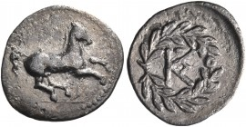 SICILY. Tauromenion. Campanian mercenaries, 354/3-344 BC. Litra (Silver, 11 mm, 0.49 g, 6 h). Horse galloping right, bridle hanging loose. Rev. Monogr...