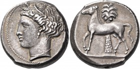 SICILY. Unlocated Punic mints. Circa 350/340-330 BC. Tetradrachm (Silver, 24 mm, 17.45 g, 12 h). Head of Kore to left, wearing wreath of grain leaves,...