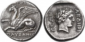 THRACE. Abdera. Circa 375/3-365/0 BC. Stater (Silver, 23 mm, 11.11 g, 3 h), Pausanias. ΕΠΙ / ΠΑΥΣΑΝΙΩ Griffin seated to left, right forepaw raised. Re...