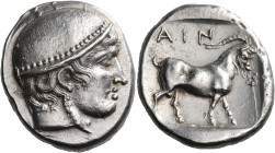 THRACE. Ainos. Circa 412/1-410/09 BC. Tetradrachm (Silver, 25 mm, 16.61 g, 6 h). Head of Hermes to right, wearing close-fitting petasos with knob at t...