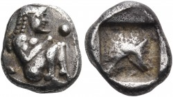 THRACO-MACEDONIAN REGION. Siris. Circa 500-490 BC. Trihemiobol or 1/8 Stater (Silver, 9 mm, 1.29 g). Nude satyr seated right with his knees up before ...