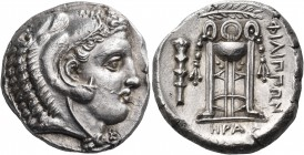 MACEDON. Philippoi. Circa 356-345 BC. Tetradrachm (Silver, 24 mm, 14.42 g, 6 h), Hera.... Youthful, beardless, head of Herakles to right, wearing lion...