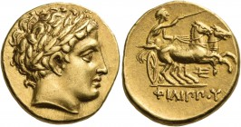 KINGS OF MACEDON. Philip II, 359-336 BC. Stater (Gold, 17 mm, 8.64 g, 12 h), Pella, c. 340-328 or c. 336-328. Laureate head of Apollo to right. Rev. Φ...