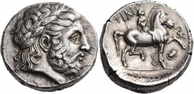 KINGS OF MACEDON. Philip II, 359-336 BC. Tetradrachm (Silver, 25 mm, 14.39 g), struck under Philip III Arrhidaios, Pella, c. 323/2-315. Laureate head ...