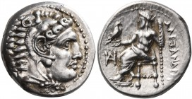 KINGS OF MACEDON. Alexander III 'the Great', 336-323 BC. Drachm (Silver, 16.5 mm, 4.32 g, 12 h), Miletos, c. 325-323. Head of Herakles to right, weari...