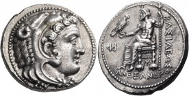 KINGS OF MACEDON. Alexander III 'the Great', 336-323 BC. Tetradrachm (Silver, 26 mm, 17.24 g, 8 h), Myriandos, 325-323. Head of youthful Herakles to r...