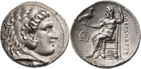 KINGS OF MACEDON. Alexander III 'the Great', 336-323 BC. Tetradrachm (Silver, 26 mm, 17.11 g, 12 h), Tyre, struck under Demetrios I Poliorketes, 301/0...