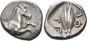 THESSALY, Thessalian League. 470s-460s BC. Hemidrachm (Silver, 14 mm, 2.89 g, 11 h). Forepart of a horse to right. Rev. ΦΕ - ΤΑ ( retrograde ) Barley ...