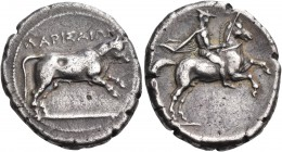 THESSALY. Larissa. Circa 370 BC. Drachm (Silver, 21 mm, 5.96 g, 2 h). ΛΑΡΙΣΑΙΩΝ Bull leaping to right. Rev. Thessalian horseman, wearing tunic, chlamy...