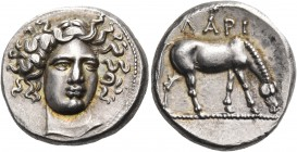 THESSALY. Larissa. Circa 370 BC. Drachm (Silver, 17 mm, 6.18 g, 9 h). Head of the nymph Larissa facing, turned slightly to the right and wearing an am...
