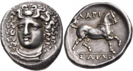 THESSALY. Larissa. Circa 356-342 BC. Stater (Silver, 12.19 g). Head of the nymph Larissa facing, turned slightly to the left, wearing ampyx, pendant e...