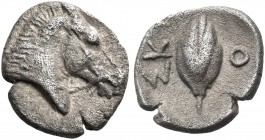 THESSALY. Skotussa. Circa 465-460 BC. Hemiobol (Silver, 8 mm, 0.45 g, 1 h). Head and neck of bridled horse to right. Rev. ΣΚ - Ο Sprouting barley grai...