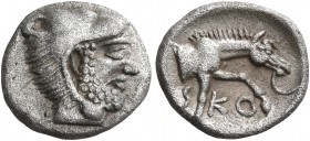 THESSALY. Skotussa. Circa 394-367 BC. Obol (Silver, 11 mm, 0.99 g, 7 h). Head of Herakles to right, wearing lion's skin headdress. Rev. ϟ-KO Forepart ...