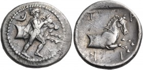 THESSALY. Trikka. Circa 440-400 BC. Hemidrachm (Silver, 18 mm, 2.78 g, 9 h). Youthful hero, Thessalos, nude but for cloak and petasos hanging over his...