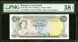 Bahamas Central Bank 10 Dollars 1974 Pick 38a PMG Choice About Unc 58 EPQ.   HID09801242017