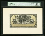Bolivia Banco Mercantil 5 Bolivianos 1906-11 Pick S173fp; S173bp Front And Back Proofs PMG Superb Gem Unc 68 EPQ; Superb Gem Unc 67 EPQ. Three POCs.  ...