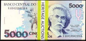 Brazil Banco Central Do Brasil 5000 Cruzeiros ND (1990) Pick 232a Group of 98 Crisp Uncirculated.   HID09801242017