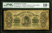 Canada Dominion of Canada $1 1878 DC-8e PMG Very Good 10 Net. Foreign substance.  HID09801242017