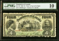 Canada Dominion of Canada 4 Dollars 2.1.1902 DC-17b PMG Very Good 10. Edge damage.  HID09801242017