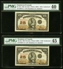 Canada Dominion of Canada 25 Cents 2.7.1923 DC-24a Two Consecutive Examples PMG Extremely Fine 40; Choice Extremly Fine 45.   HID09801242017