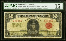 Canada Dominion of Canada 2 Dollars 23.6.1923 DC-26b PMG Choice Fine 15.   HID09801242017