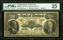 Canada Bank of Montreal $20 2.1.1923 Ch.# 505-56-06 PMG Very Fine 25.   HID09801242017