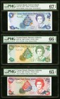 Cayman Islands Currency Board $1; $5; $10 1996; 1998 (2) Pick 16a; 22a; 23 Three Examples PMG Superb Gem Unc 67 EPQ; PMG Gem Uncirculated 66 EPQ; PMG ...