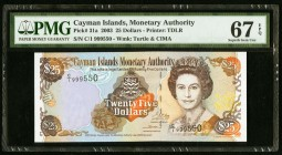 Cayman Islands Monetary Authority 25 Dollars 2003 Pick 31a PMG Superb Gem Unc 67 EPQ.   HID09801242017
