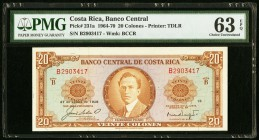 Costa Rica Banco Central de Costa Rica 20 Colones 27.12.1968 Pick 231a PMG Choice Uncirculated 63 EPQ.   HID09801242017