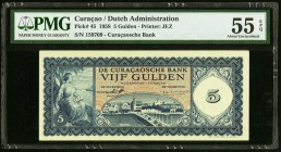 Curacao De Curacaosche Bank 5 Gulden 1958 Pick 45 PMG About Uncirculated 55 EPQ.   HID09801242017