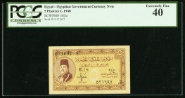 Egypt Egyptian Government 5 Piastres 1940 Pick 165a PCGS Extremely Fine 40.   HID09801242017