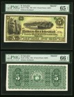 El Salvador Banco Occidental 5 Pesos 1891-1915 Pick S176fp; S176bp Front And Back Proofs PMG Gem Uncirculated 65 EPQ; Gem Uncirculated 66 EPQ. 5POCs o...