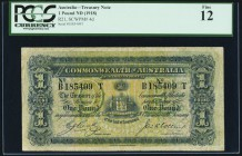 Australia Commonwealth of Australia 1 Pound ND (1918) Pick 4d PCGS Fine 12. A pleasing and affordable example of this old series, without a royal port...