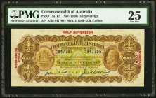 Australia Commonwealth Bank of Australia 1/2 Sovereign ND (1926) Pick 15a PMG Very Fine 25. An excellent example of this scarce, earlier variety, whic...