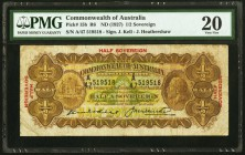 Australia Commonwealth Bank of Australia 1/2 Sovereign ND (1927) Pick 15b PMG Very Fine 20. A problem free example of this scarce type, featuring the ...